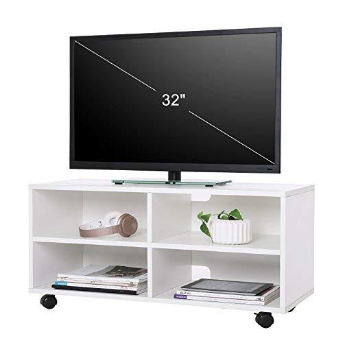 VASAGLE TV-Schrank, Fernsehschrank mit 4 Fächern und Rollen, TV Board Offenes Lowboard für Fernseher, Holz, Weiß LTC02WT
