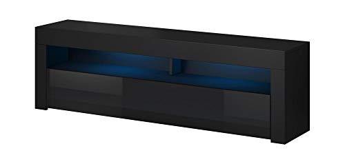 VIVALDI MEBLE LED TV Board Schwarz Matt Hochglanz Fernsehtisch Sideboard Kommode Lowboard
