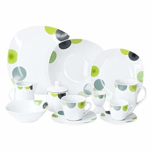 Van Well | 62-TLG. Kombi-Geschirr Rondo für 6 Personen | Tafel-Service + Kaffee-Set + Zubehör | Retro-Look grün-gelb | edles Porzellan | Kreise