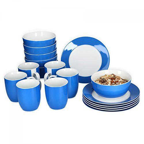 Van Well Frühstücksset 18-tlg. für 6 Personen Serie Vario Porzellan - Farbe wählbar