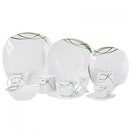 Van Well Kombiservice Donna 124tlg. - weißes Porzellan mit Linien- Dekor in schwarz, grau und grün - für 12 Personen