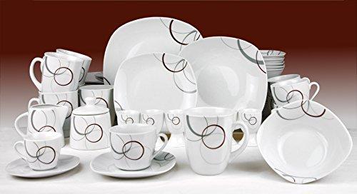 Van Well Kombiservice Palazzo 124tlg. - weißes Porzellan mit Kreise- Dekor in grau und dunkelrot - für 12 Personen