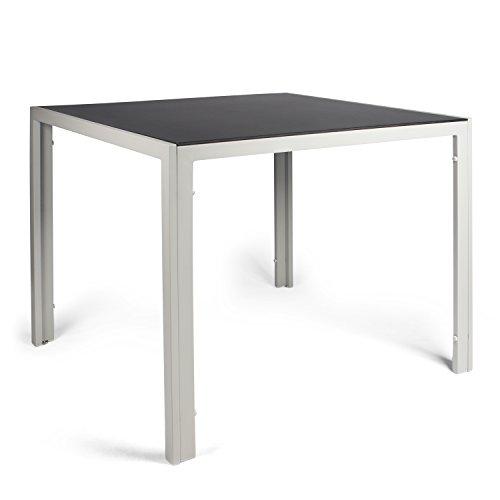 Vanage Aluminium Gartentisch in Grau mit Strukturierter Glasplatte in Schwarz