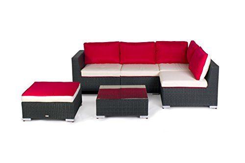 Vanage Gartenmöbel Set XXL für Garten, Balkon und Terrasse, Madrid in Rattanoptik Polyrattan, rot/weiß