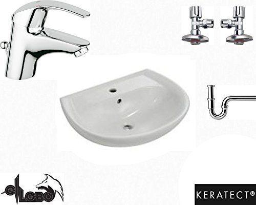 Waschbecken, Waschtisch Keramag Renova Nr.1 Grohe Armatur Komplettset Keratect, Siphon