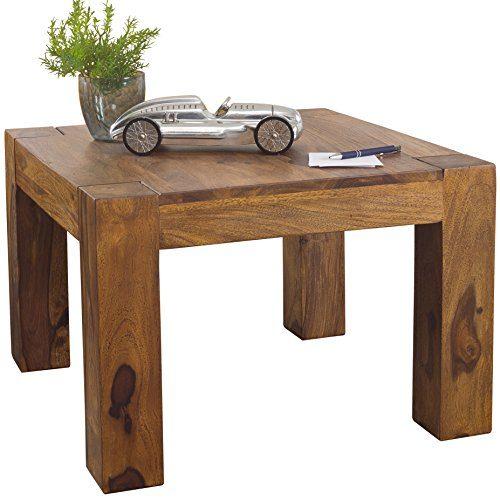 Wohnling Couchtisch Massiv-Holz 60 cm breit Wohnzimmer-Tisch Design braun Natur Landhaus-Stil Beistelltisch Naturprodukt Wohnzimmermöbel Unikat modern Massivholzmöbel Echtholz quadratisch…