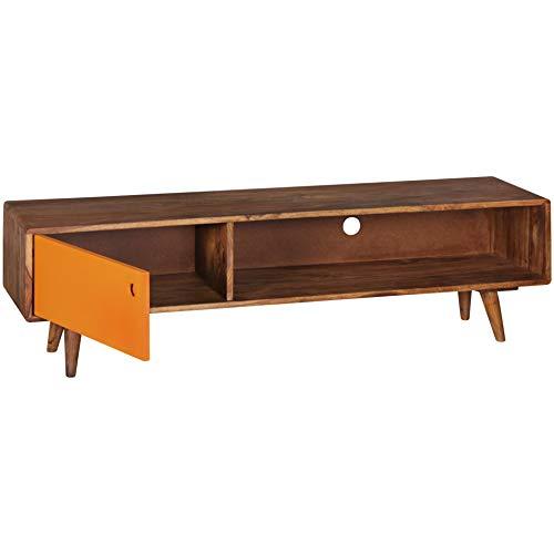 Wohnling TV Lowboard REPA 140 cm Massiv-Holz Sheesham Landhaus 2 Türen & Fach | HiFi Regal braun 4 Füße | Fernseher Kommode Vintage