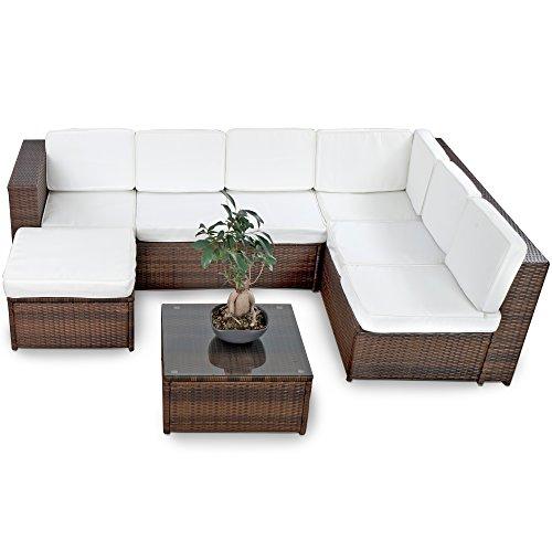 XINRO® Farbwahl - 15tlg. Deluxe Lounge Garnitur Cuba Sitzgruppe Gartenmöbel Rattan Set Geflecht Polyrattan inkl. Sitzkissen
