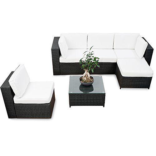 XINRO® erweiterbare Gartenmöbel Polyrattan Lounge Möbel Set - schwarz