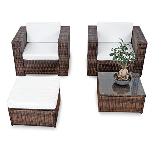 XINRO® erweiterbares 10tlg. Balkon Gartenmöbel Set Polyrattan - braun-Mix - Garnitur Gartenmöbel Sitzgruppe Loungemöbel Set - inkl. Lounge Sessel + Hocker + Tisch + Kissen
