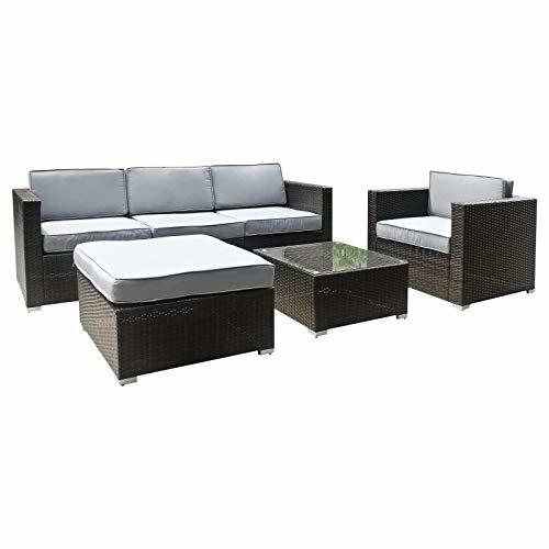 XXL Rattan Polyrattan Gartenmöbel Lounge Sitzgruppe Garnitur 4 Sitze + Hocker, Tisch