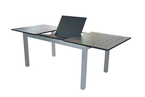 """XXL Voll Aluminium Auszieh-Gartentisch """"Detroit"""" 220/280 x 100 cm mit Synchronauszug von Doppler in silber mit schwarzer Platte"""