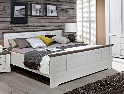 expendio Bett Gaston 180x200 cm Schneeeiche Weiss grau Doppelbett Komfortbett Landhausstil Landhausmöbel