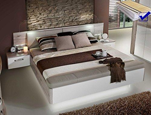 expendio Doppelbett Rubio 1 Sandeiche weiß Hochglanz 180x200 Ehebett mit 2X Nachtkonsole Beleuchtung Lattenrost Matratze
