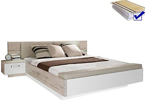 expendio Doppelbett Rubio 1 Sandeiche weiß Hochglanz 180x200 Ehebett mit 2X Nachtkonsole Lattenrost Matratze Schlafzimmer Nako
