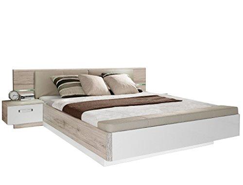 expendio Doppelbett Rubio 1 Sandeiche weiß Hochglanz 180x200 Ehebett mit 2X Nachtkonsole Schlafzimmer Bettgestell Nachttisch Nako