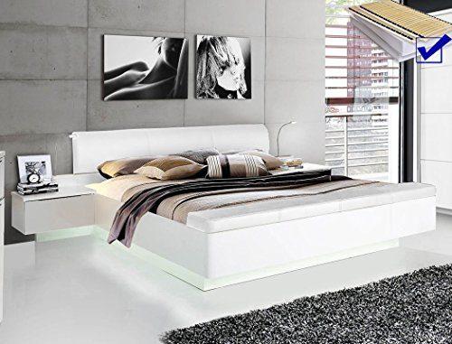 expendio Doppelbett Sophie 1 weiß Hochglanz 180x200 Ehebett mit 2X Nachtkonsole Beleuchtung Lattenrost Matratze Bett Nachttisch