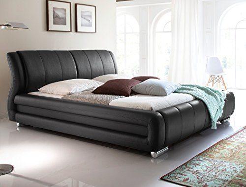 expendio Polsterbett Bett Zorro schwarz Kunstleder Verschiedene Größen Ehebett Doppelbett Kunstleder