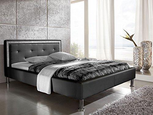 expendio Polsterbett Dave 140x200 schwarz Kunstleder mit Strassband Lifestyle Bett Singlebett Jugendbett