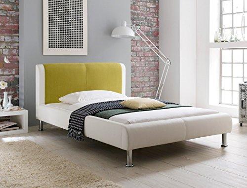 expendio Polsterbett Falo 140x200 cremeweiß grün Designerbett Singlebett Jugendbett Bettgestell Kunstlederbett Einzelbett Gästebett