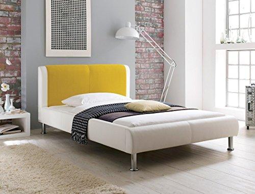 expendio Polsterbett Falo 180x200 cremeweiß gelb Designerbett Doppelbett Ehebett Bettgestell Kunstlederbett