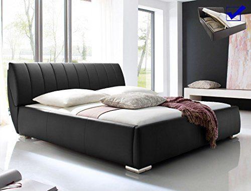 expendio Polsterbett Luanos Kunstlederbezug schwarz, Bett 180x200cm inkl. Lattenrost verstellbar und Bettkasten, Doppelbett Designerbett
