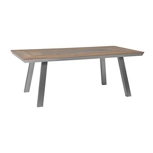 greemotion 129017 Alu Gartentisch Locarno-Esstisch aus Aluminium mit Tischplatte in Holz Optik-Tisch für Garten, Terrasse & Balkon-Alutisch mit Stauraum, Braun, 20,2 x 10,2 x 1 cm