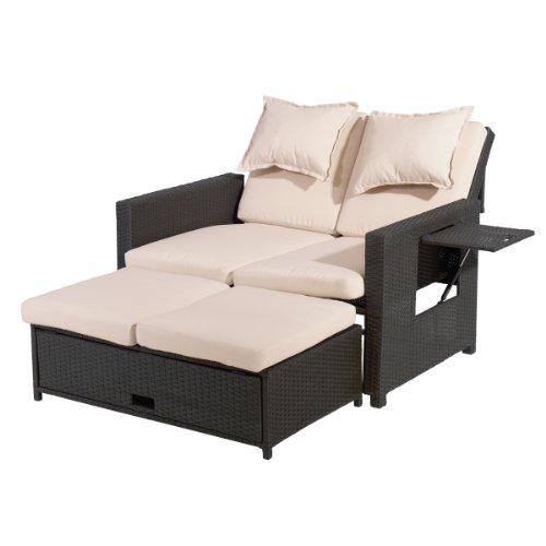 greemotion Bahia Sofa & Bett, Love Seat aus Stahl und Polyethylengeflecht mit stufenlos verstellbarer Rückenlehne