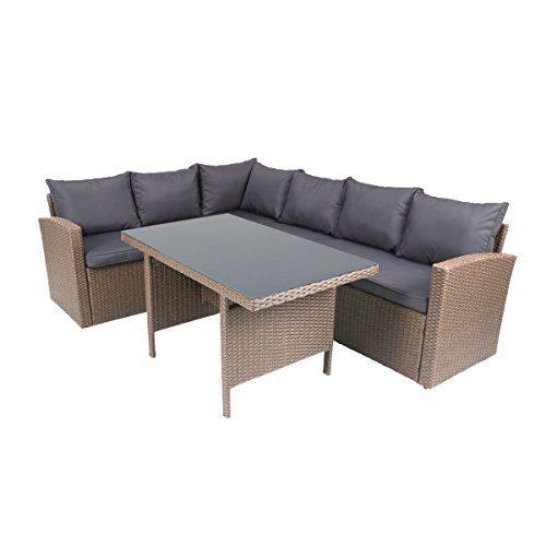 greemotion Eckbank mit Tisch für In- und Outdoor, Lounge mit Stauraum unter den Sitzflächen, Sitzelemente einfach umzustellen,
