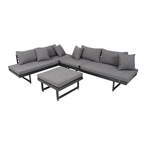 greemotion Lounge-Set Calais, 3 teilig, Gartenmöbel-Set inkl. Auflagen, robuste Sitzgruppe für Indoor & Outdoor, 2 Bänke + Tisch, Stahl, eisengrau