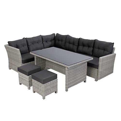 greemotion Rattan Lounge-Set Toscana, 5-teilig, Polyrattan Gartenmöbel-Set inkl. Auflagen, bequeme Outdoor Sitzgruppe mit Esstisch, grau-bicolor