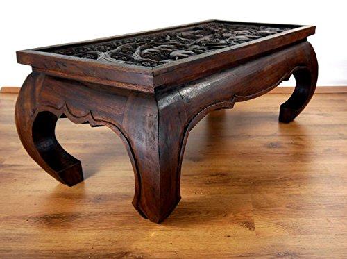 livasia Großer Opiumtisch mit eleganter Elefantenschnitzerei, Asiatischer Couchtisch aus Massivholz der Marke Asia Wohnstudio, Asiatischer Wohnzimmertisch, Asiatischer Couchtisch aus Massivholz