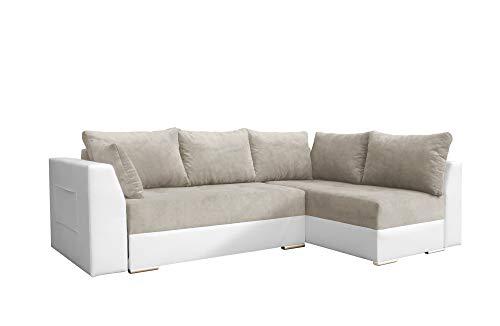 mb-moebel Ecksofa mit Schlaffunktion Eckcouch mit Zwei Bettkasten Sofa Couch Wohnlandschaft L-Form Polsterecke Laos
