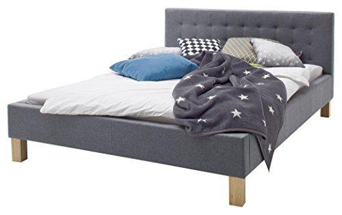 sette notti Polsterbett Bett 140x200 Grau, Bett mit Liegefläche 140x200 cm, Polsterbett-Stoff in Grau, Yes Art Nr. 1257-10-3000