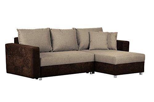 CAVADORE Couch mit Schlaffunktion und Bettkasten/Recamiere rechts oder Links montierbar/Ecksofa in L-Form/Mit Strukturstoff