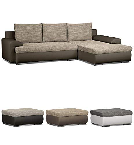 CAVADORE Ecksofa Leriot/Sofa mit Strukturstoff und Kunstleder/Longchair rechts oder Links montierbar/Inkl. DREI Rückenkissen