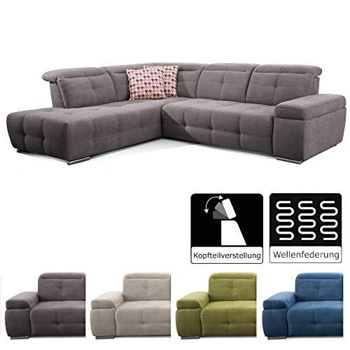 CAVADORE Polsterecke Mistrel mit Ottomanen Links/Eck-Couch mit Bettfunktion/Schlaffunktion/Kopfteilverstellung