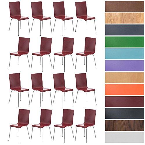 CLP 16er-Set Wartezimmerstuhl Pepe mit ergonomisch geformten Holzsitz und Metallgestell l 16 x Konferenzstuhl l erhältlich