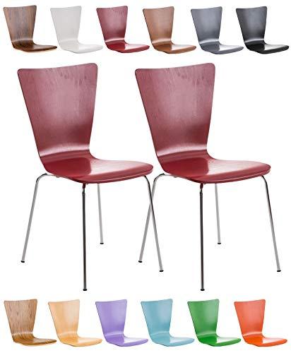 CLP 2X Stapelstuhl Aaron mit Holzsitz und ergonomisch geformter Sitzfläche I Konferenzstuhl mit Einer Sitzhöhe von 45 cm I erhältlich