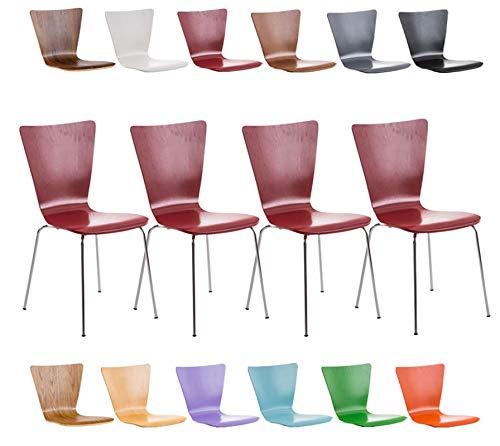 CLP 4er-Set Stapelstuhl Aaron mit Holzsitz und stabilem Metallgestell I 4X Platzsparender Stuhl mit pflegeleichter Sitzfläche I erhältlich