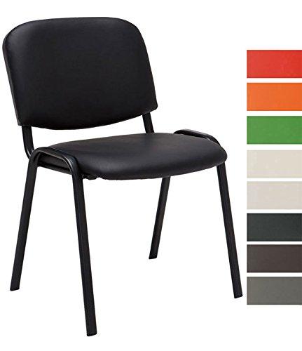 CLP Besucherstuhl Ken mit hochwertiger Polsterung und Kunstlederbezug I Stapelstuhl mit robustem Metallgestell und gepolsterter Rückenlehne