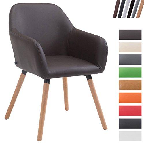 CLP Esszimmerstuhl ACHAT V2 mit Kunstlederbezug, Polsterstuhl mit Armlehne, Sitzfläche gepolstert, mit Bodenschonern, max. Belastbarkeit 150 kg,