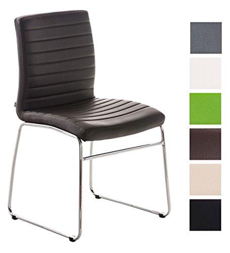 CLP Esszimmerstuhl LEA mit hochwertiger Polsterung und Kunstlederbezug | Küchenstuhl mit Bodenschonern und Einer Sitzhöhe von: 47 cm wählbar
