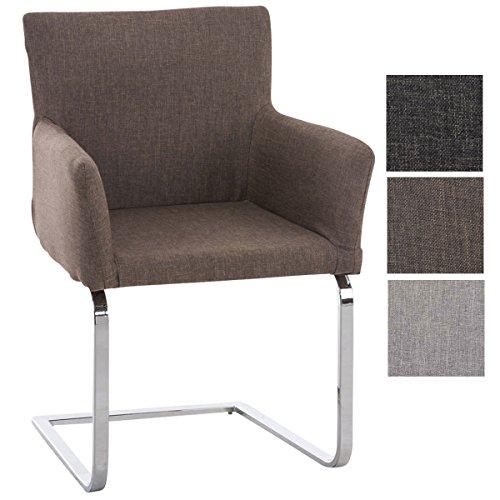 CLP Freischwinger PIRUS mit hochwertiger Sitzpolsterung und Stoffbezug I Konferenzstuhl mit Armlehnen und Metallgestell in Chrom-Optik