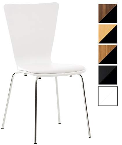 CLP Stapelstuhl Aaron mit Kunstledersitz und stabilem Metallgestell I Platzsparender Konferenzstuhl mit ergonomisch geformter Sitzfläche