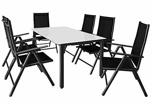 Casaria Sitzgruppe Bern 6+1 mit Milchglas Tisch - Silber/Anthrazit