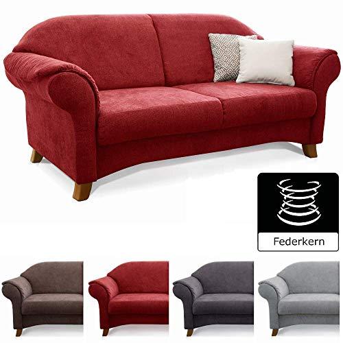 Cavadore 2-Sitzer Maifayr/Wunderschönes Landhaus Sofa im Landhausstil mit Holzfüßen/Landhaus Couch/Maße: 164 x 90 x 90 cm (BxHxT) / Farbe: Bordeaux (Weinrot)
