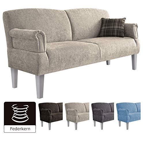 Cavadore 3er Sofa Pasle für Küche, Esszimmer/Ostfriesensofa mit Federkern im Landhausstil/Inkl. Armteilfunktion/Holzfüße Weiß