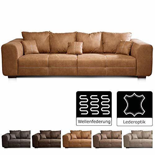 Cavadore Big Sofa Mavericco / XXL Polstercouch im modernen Design in Lederoptik / Inklusive Rückenkissen und Zierkissen / 287 x 69 x 108 cm (BxHxT) / Mikrofaser