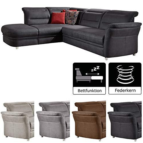 Cavadore Eck-Sofa Bontlei/Federkern-Couch mit Kopfteilverstellung/Inkl. Schlaffunktion und Stauraum / 261 x 88 x 237 cm (BxHxT)
